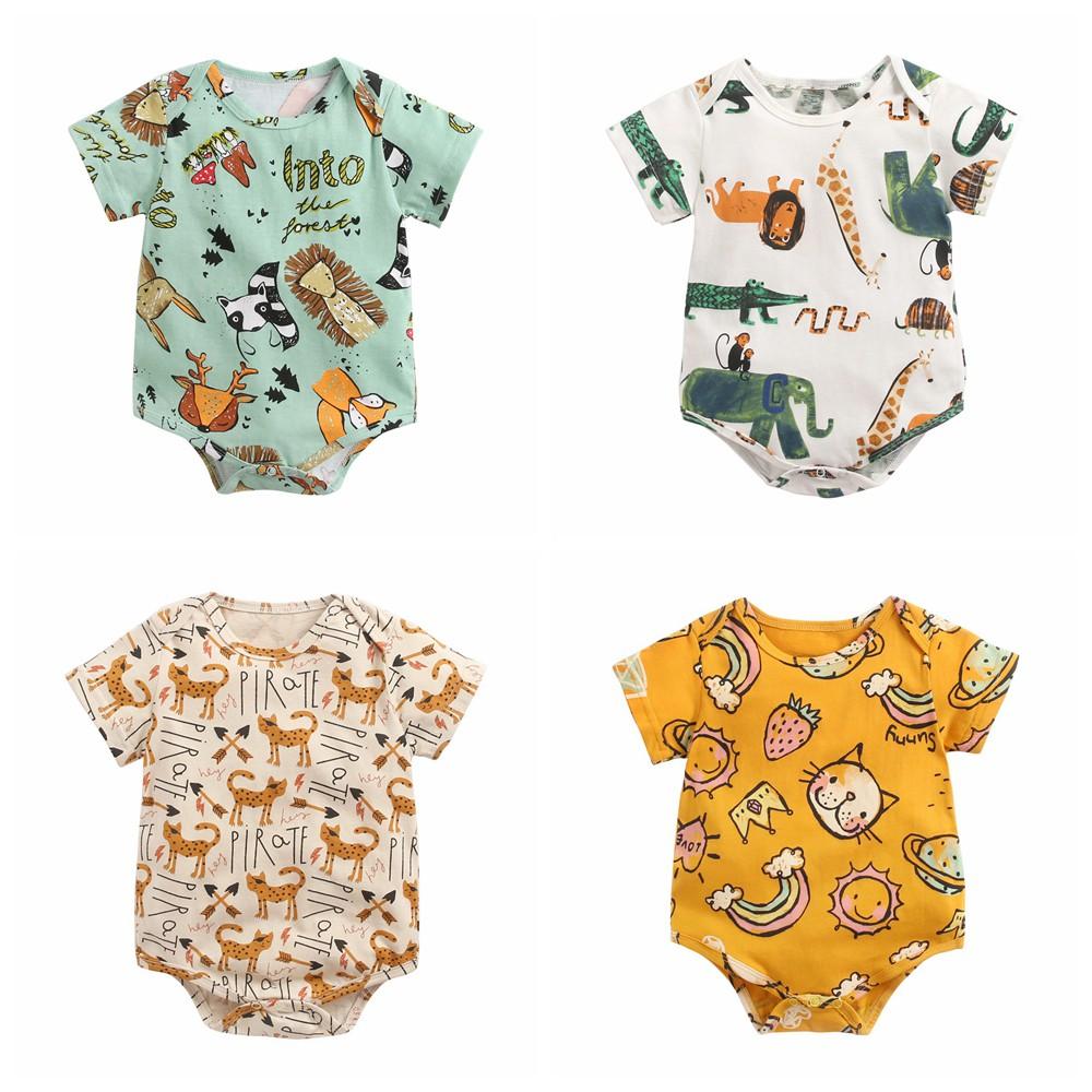 Áo liền quần Sanlutoz tay ngắn bằng cotton phong cách mùa hè cho trẻ sơ sinh (4 màu)