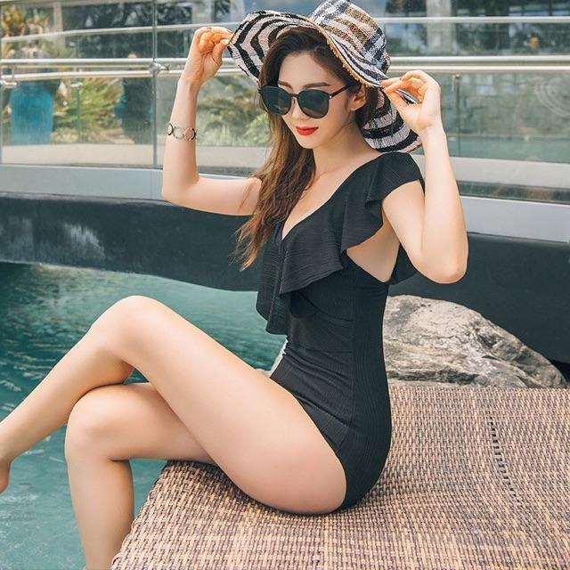 [SIÊU RẺ - CÓ SẴN] Bikini một mảnh viền bèo đen