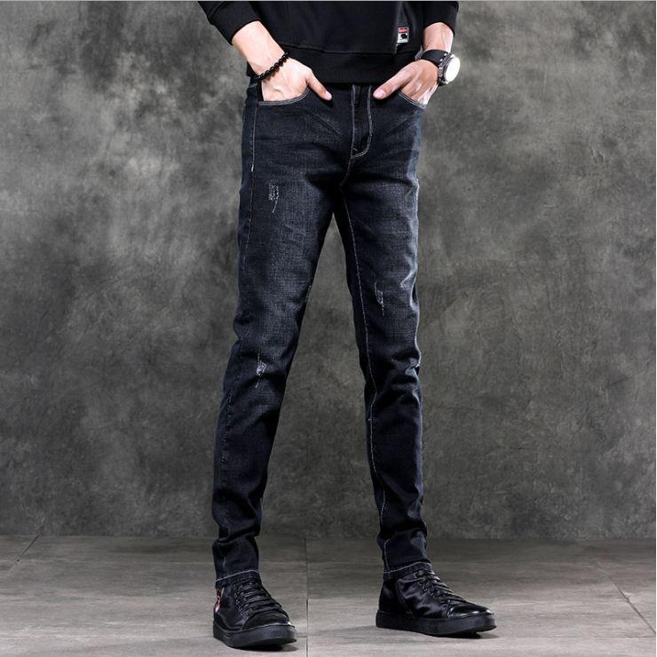 Quần jean nam cào nhẹ vải cao cấp không phai giữ phom, VNXK  quần dáng côn co giãn nhẹ