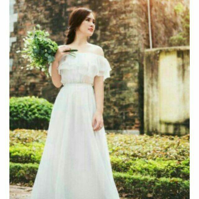 1424821782 - (free chỉnh sửa váy) đầm von trắng trễ vai váy xòe, váy trễ vai mặc được nhiều kiểu, váy trắng chụp hình cưới