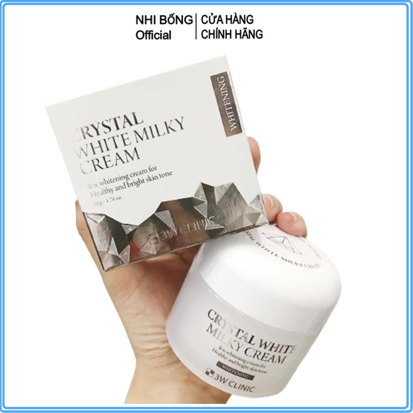 Kem trắng da - Kem dưỡng da 3W Clinic Crystal White Milky Cream 50gr [ Chính Hãng Hàn Quốc]