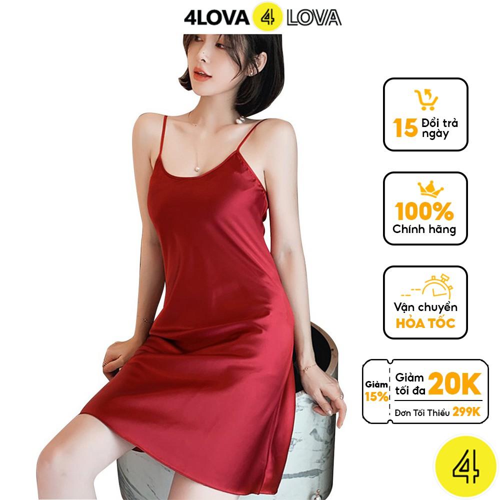 Mặc gì đẹp: Thoải mái với Váy ngủ 2 dây lụa satin cao cấp 4Lova mềm mịn, quyến rũ