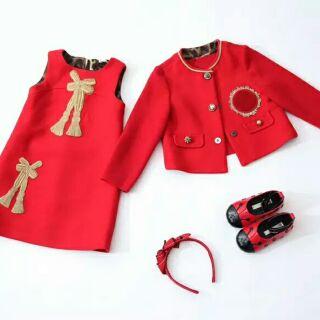 Set váy dạ đỏ bé gái