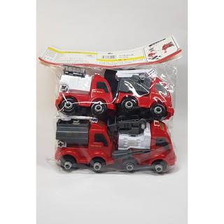 Bộ 4 xe cứu hỏa có cờ lê tô vít tháo lắp