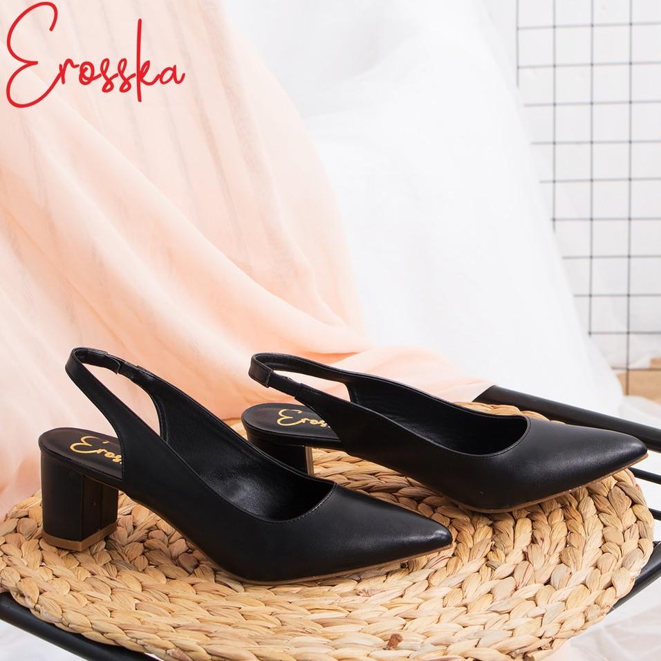 Giày Cao Gót Slingback Erosska Giày Nữ Mũi Nhọn Cao 5CM Màu Basic _ EH015