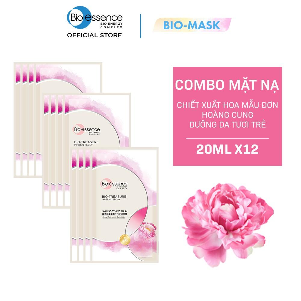 Hộp 12 miếng Mặt nạ dưỡng da tươi trẻ chiết xuất hoa mẫu đơn hoàng cung Bio-essence (12 miếng x 20ml)