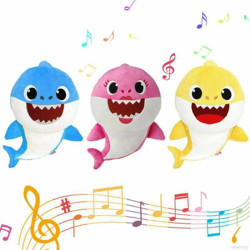 Newborn Baby Cartoon Baby shark Rattle Cute Plush Animal Music Doll Infant Early Educational Doll To