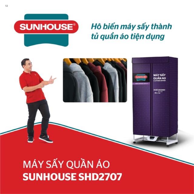 Tủ sấy quần áo 3 tầng Sunhouse có điều khiển từ xa công suất Max 1500W SHD2707 mẫu mới
