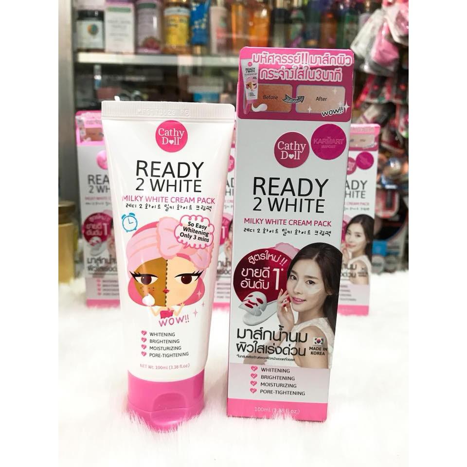(100ml) Mặt nạ ủ trắng da mặt tức thì Cathy Doll Ready 2 White Milky White Cream Pack