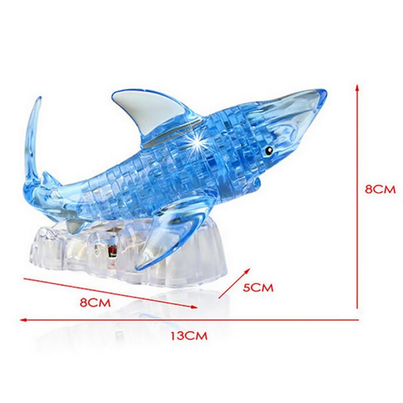 Đồ trang trí pha lê Thế Giới Dưới Nước 3D hình  Cá Mập