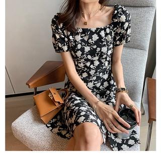 Đầm Chiffon Mini Dáng Ôm Xẻ Tà In Hoa Mùa Hè Phong Cách Pháp Mới 2021 Cho Nữ