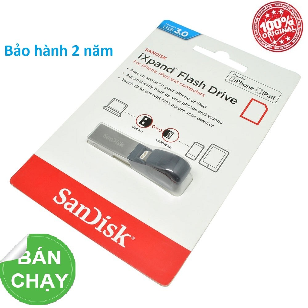USB 16G OTG 3.0 Sandisk cho Iphone,Ipad,..BH 2 năm