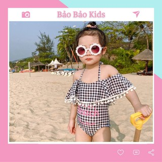Bộ bơi liền thân 1 mảnh trễ vai họa tiết sọc caro cho bé gái (10-22kg)