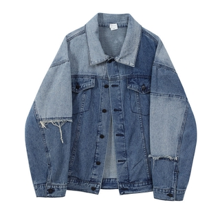 Caring 2021New Korean Style Stitching Contrast Color Denim Jacket Women's Design Sense Niche Spring Blue Shirt Fashion