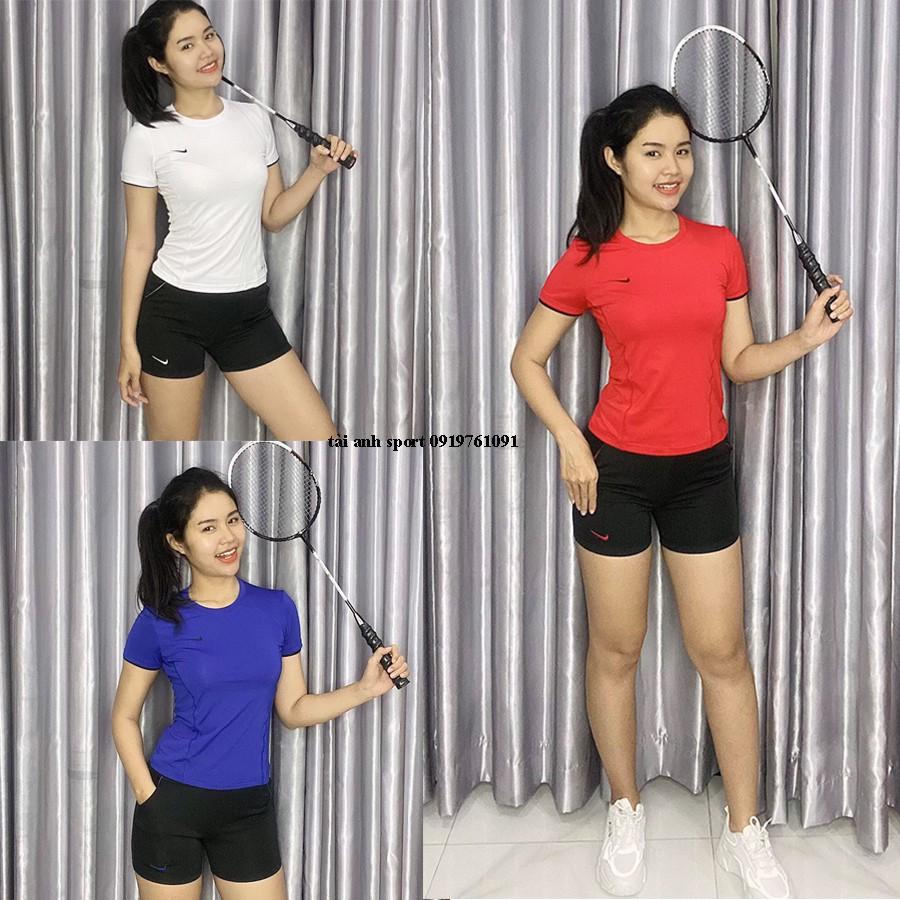 Bộ đồ tập gym, aerobic, cầu lông nữ ngắn gồm quần đùi kết hợp áo thun cộc tay