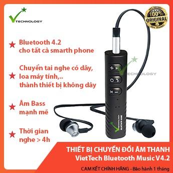 Thiết Bị Chuyển Đổi Âm Thanh Có Dây Thành Không Dây VietTech Bluetooth Music V4.2 ( KHÔNG BAO GỒM TAI NGHE)