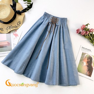 [Thanh Lý Xả Kho] Chân váy denim lưng cao xanh nhạt chân váy jean lưng thun GLV147 .. Đẹp