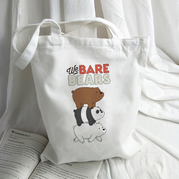 Túi xách vải in hình gấu We Bare Bears thời trang