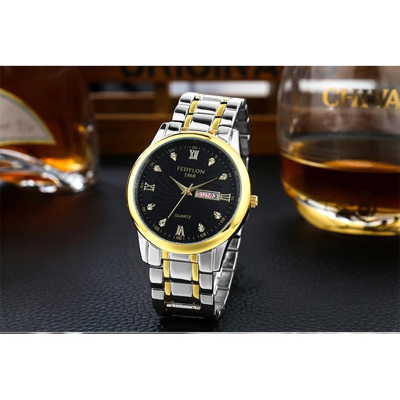 Đồng hồ nam FEDYLON F1868 dây thép không gỉ cao cấp - 2 màu mặt thời trang