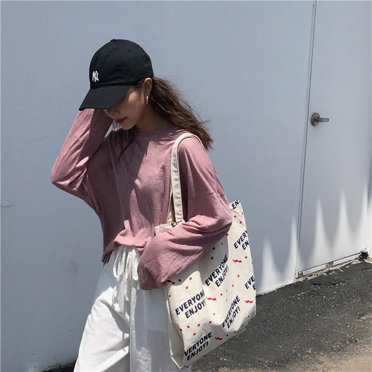túi vải canvas có in chữ phong cách hàn quốc cho nữ