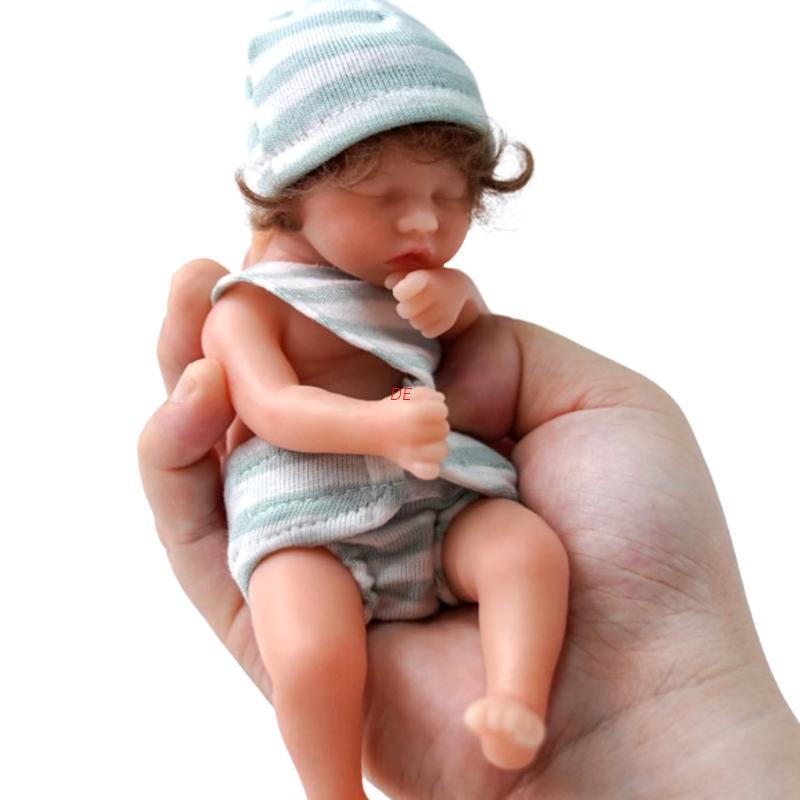 Búp bê em bé bằng silicon mềm 6 inch kèm tóc giả xinh xắn