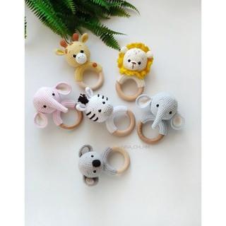 Lục lạc đầu thú bông len handmade cực đáng yêu an toàn cho bé