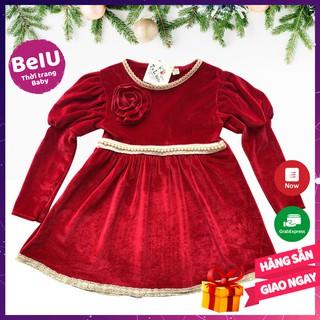 Đầm nhung đỏ, váy nhung BEIU019 váy công chúa bé gái đính hoa đơn giản đồ tết cho bé diện tết du xuân năm mới