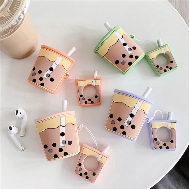 Code(17198)Hộp đựng tai nghe thiết kế hình ly trà sữa 3D từ silicon tiện dụng cho airpods