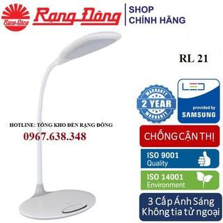 [FREESHIP] Đèn bàn LED chống cận Rạng Đông 6W cảm ứng, đổi 3 màu / 5 mức ánh sáng RL 21-Màu trắng