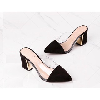 Giày sục cao gót bít mũi gót vuông mã H10 thumbnail