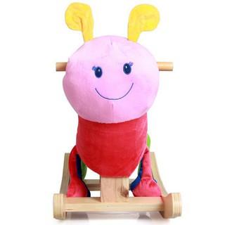 Cartoon animal rocking horse plush children's wooden horse wooden toy rocking ho