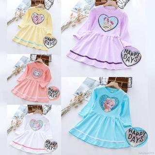 Váy xòe tay dài họa tiết hoạt hình đính kim sa lấp lánh cho bé gái