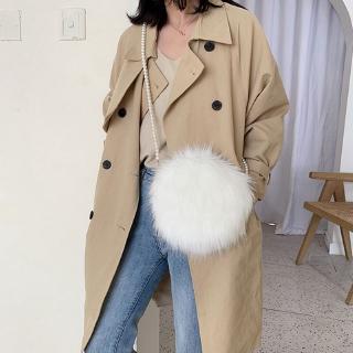 Túi đeo chéo phối lông thú nhân tạo sang trọng thời trang cho nữ