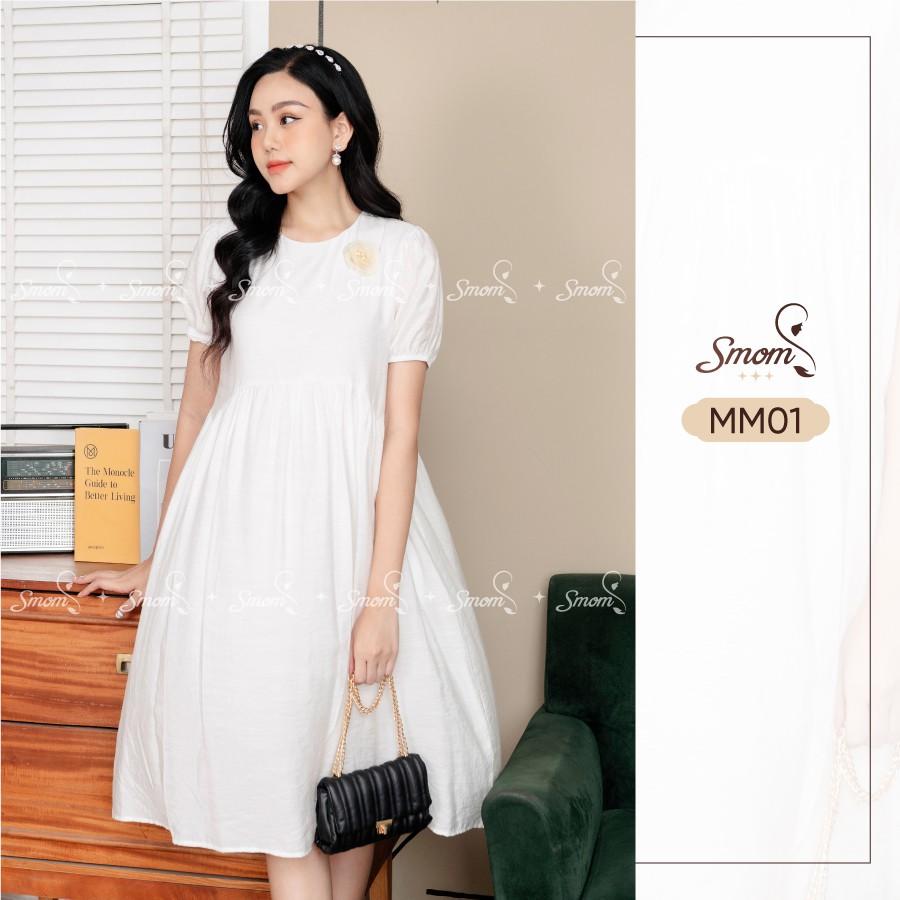 Mặc gì đẹp: Dễ chịu với Váy Bầu Thiết Kế SMOM, Đầm Bầu Lụa đũi 2 lớp Mềm Mát Mã MM01