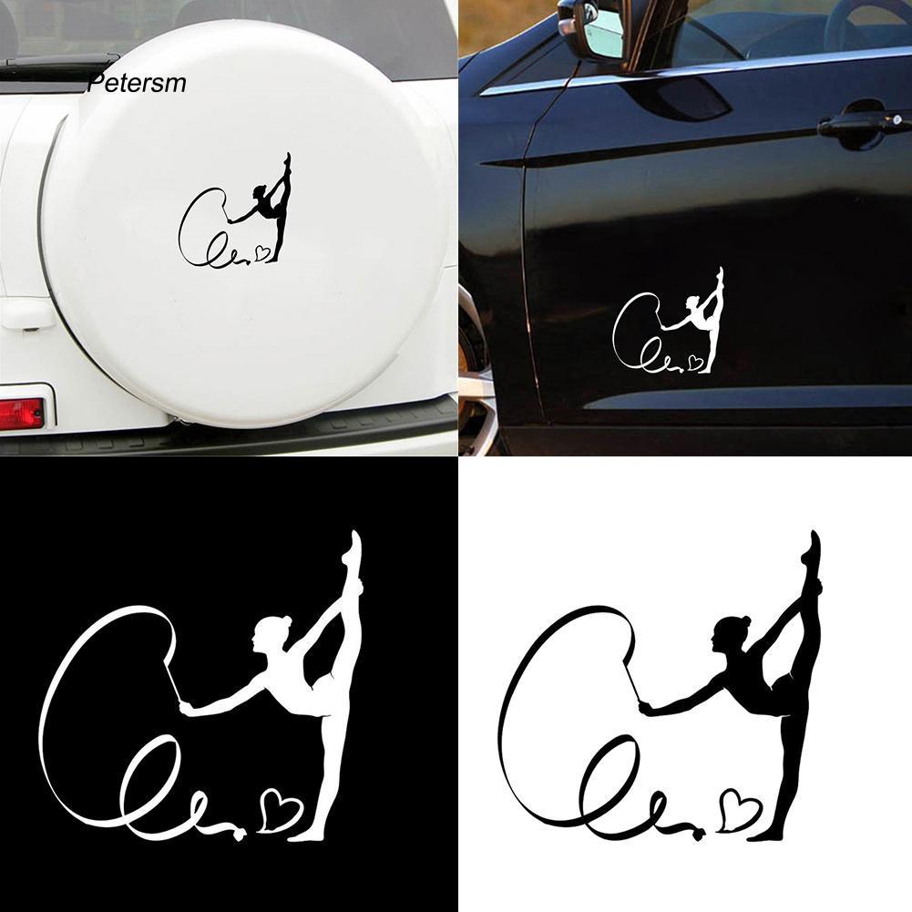 Sticker dán trang trí xe hơi hình cô gái tập thể dục
