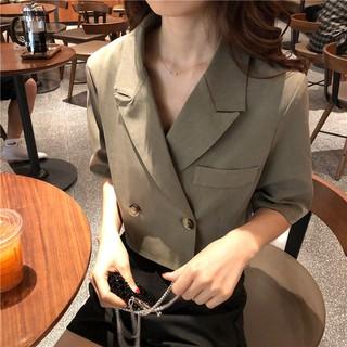 Áo Khoác Blazer Tay Ngắn Phong Cách Thời Trang Retro 2020 Cho Nữ