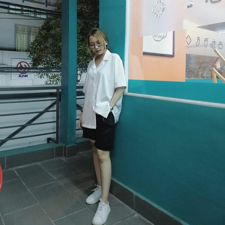 Áo Sơ mi Vet trắng trơn ngắn tay + short kaki đen cao cấp