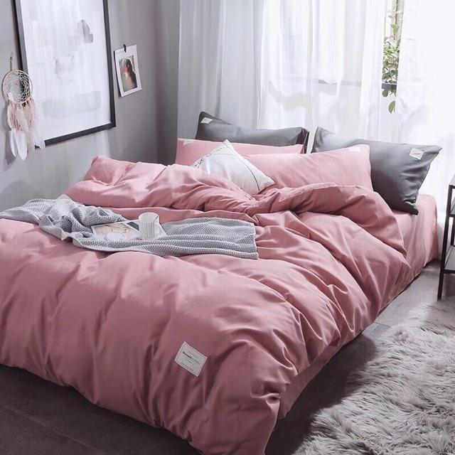 Set Chăn Ga gối Cotton đũi Tici - Màu hồng.