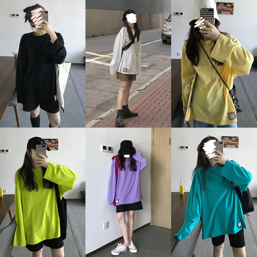 Áo thun nữ tay dài dáng rộng 6 màu trơn tùy chọn