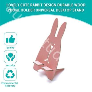Lovely Cute Rabbit Design Durable Wood Phone Holder Universal Desktop Stand