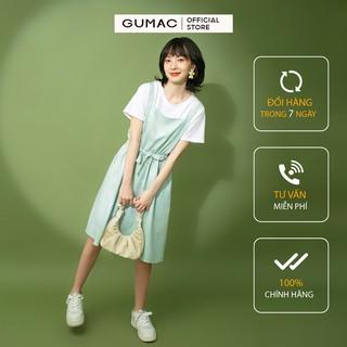 [Mã FASHION10KP giảm 10K đơn 50K] Đầm nữ xòe GUMAC thiết kế yếm dây rút màu xanh siêu năng động DB1124 thumbnail