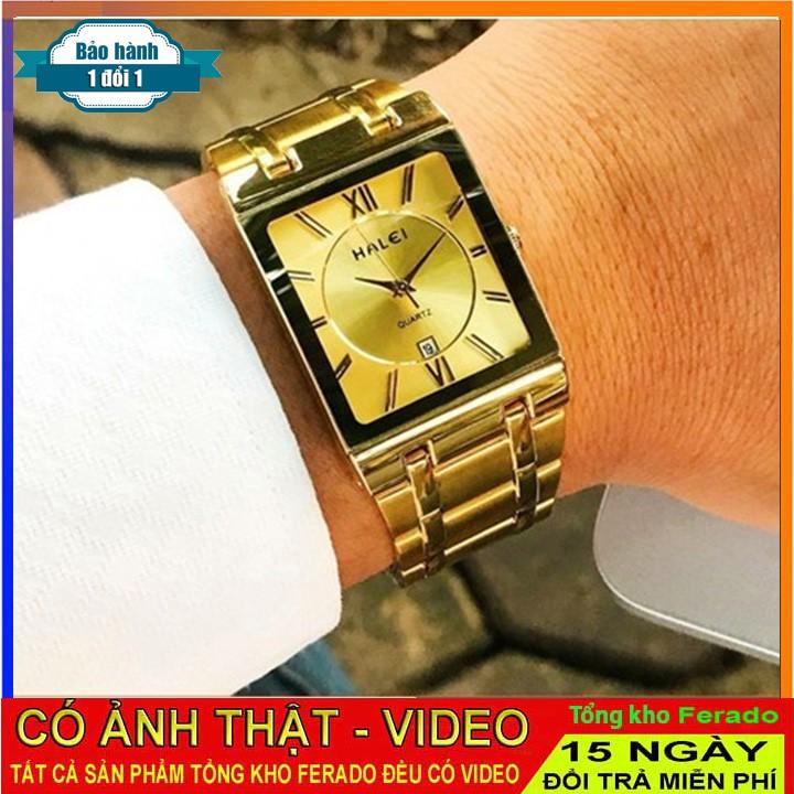 Đồng hồ Halei 6868 nam có lịch mặt vuông dây thép [CÓ VIDEO]