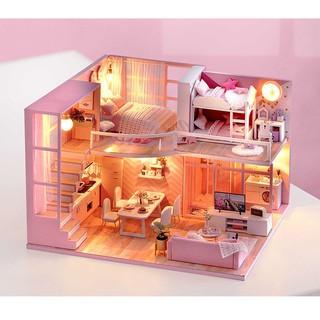 Bộ lắp ráp mô hình nhà gỗ DIY:Biệt Thự Màu Hồng L026 – Tặng Mica che bụi + Keo sữa