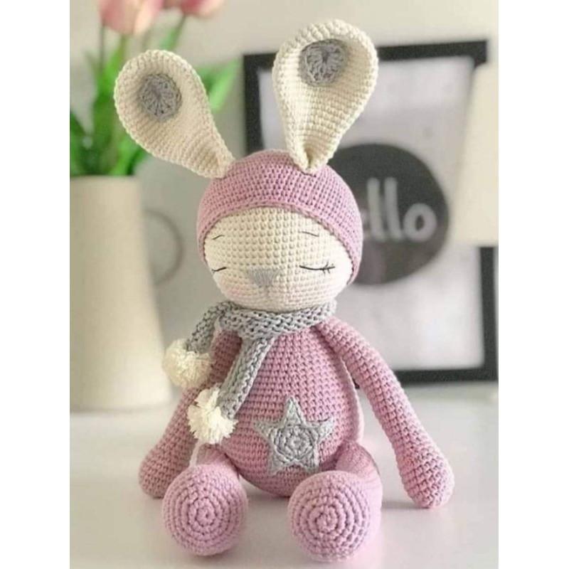 Chú thỏ len sleeping bunny zoe – Thú nhồi bông handmade