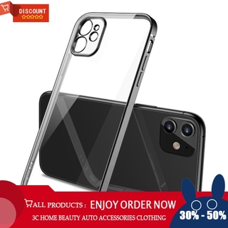 For iPhone 11 Pro/ 11/11 Pro Max Mobile Phone shell Square Transparent electroplating TPU Cover Cell Phone Case