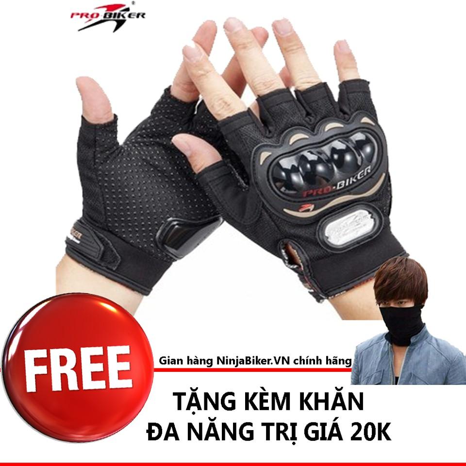 Găng tay Probiker ngắn ngón FREE khăn đa năng đi phượt