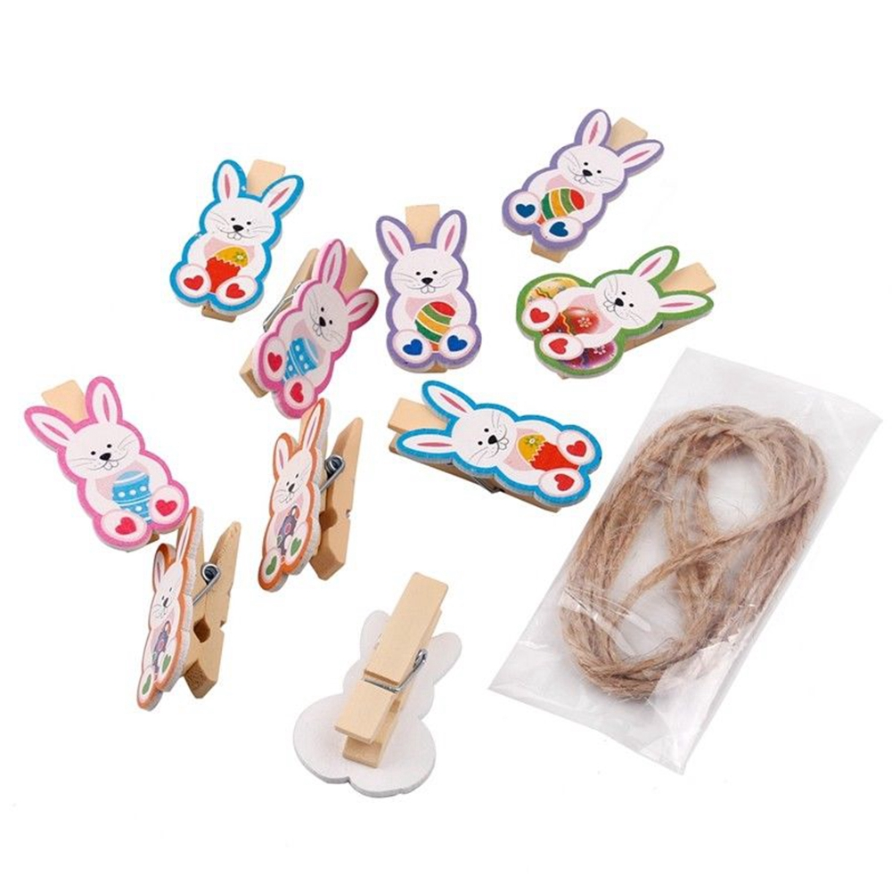 10pcs Easter Reusable Hemp Rope Gift Home Decor Card Holder Rabbit DIY Wooden Photo Clip