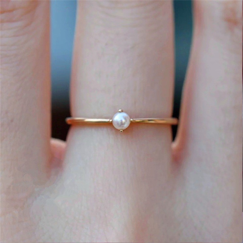 Aifei Jewellery Women Ring Pearl 925 Sterling Silver 18K Rose Gold Plating R368