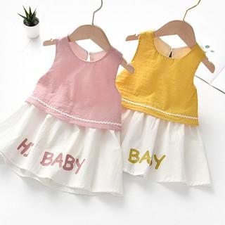 Đầm cotton sát nách in chữ dễ thương cho bé gái
