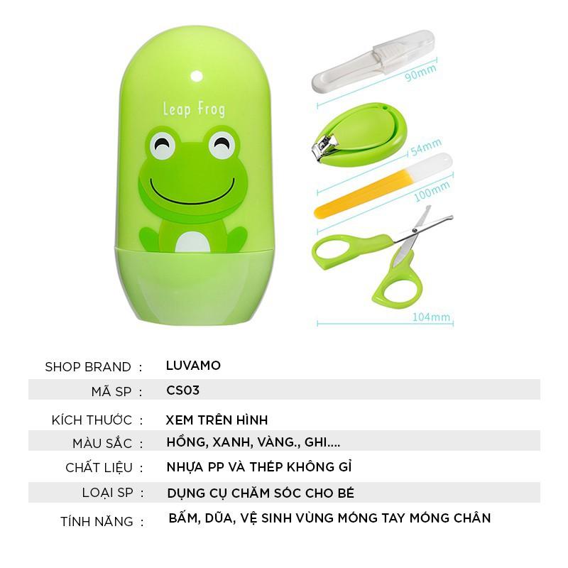 Bộ cốc bấm móng tay cho bé đa năng cho bé , 4 món, hộp nhựa cao cấp với nhiều hình thù ngộ nghĩnh